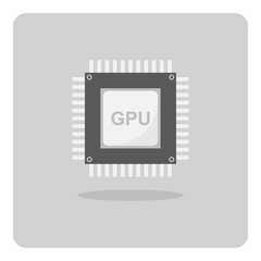Vector of flat icon, Graphics Processing Unit (GPU) chip on isolated background