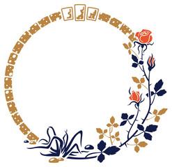 Round elegant frame with roses