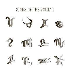 Set of zodiacs signs painted by hand.  Astrology grunge