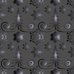 Seamless abstract illustration of nature. Figure 3D, Christmas trees, snowflakes, snowstorm. Color gray metal, titanium. Vector.