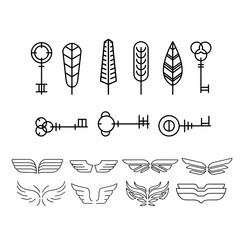 Feather, key and wing Set in Linear Style, Vector Illustration