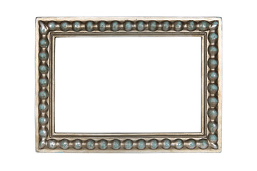 Silver carved picture frame isolated over white with clipping path.