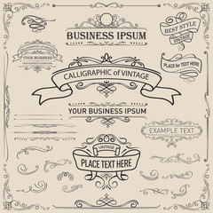 Set of Vintage Frames and Banners/ calligraphic elements and page decoration/ Ornate elements and page dividers, Ideal for creative layout, greeting cards, invitations, books, brochures, templates.