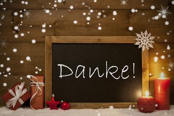 Christmas Card, Blackboard, Snowflakes, Danke Mean Thank You