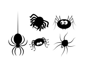 Spider halloween icon, symbol Silhouette set. Vector illustration on white background