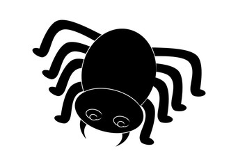 Spider halloween icon, symbol Silhouette. Vector illustration on white background