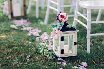 Wedding lantern with candle