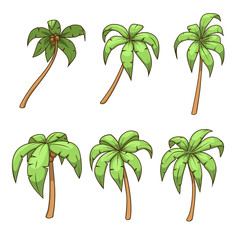 Palm tree set vector illustration