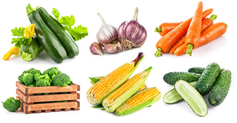 Set fresh vegetables with green leaf. Isolated on white