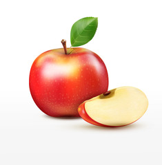 vector ruddy apple with apple slices, isolated on a white backgr