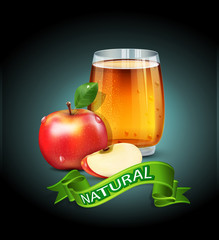 vector cup glass of apple juice with apple slices and green ribb