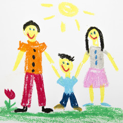 photo of an oil pastels drawing: happy family