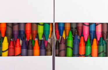 Generic used crayons in a generic white box