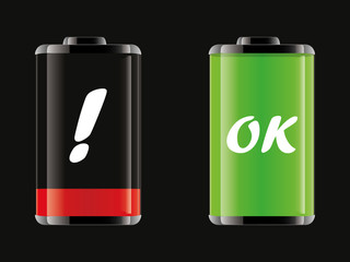 Set of vector battery icons