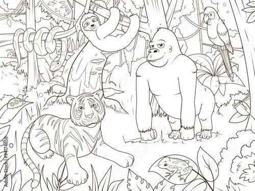 Jungle Animals Cartoon Coloring Book Vector