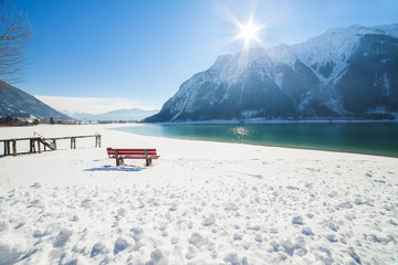 Winter mountain landscape on a sunny day. Achensee, Austria, Tirol
