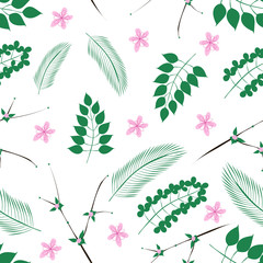 Vector seamless pattern of the cute green leaves and pink flowers