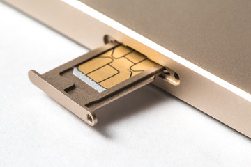 closeup Nano SIM card ready to insert to smart phone