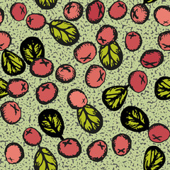 Lingonberry vector seamless pattern.