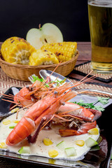 Fried shrimps with glass of beer