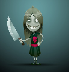 Vector image of a cute cartoon girl evil with dark hair, dressed in a black dress with a red skull, with a knife in her hand on a dark gray background. In the theme of Halloween.