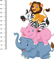 Height scale with funny Africa animal collection set