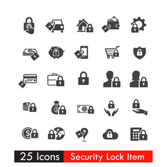 Set of 25 icons Safety Lock Concept vector eps10
