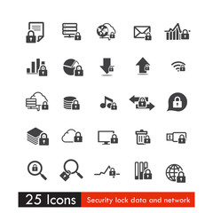 Set of 25 icons safety lock data cloud and network