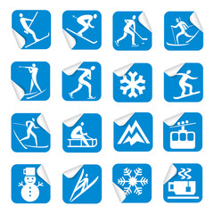 Stickers with winter sport icons.