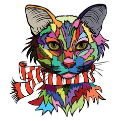Vector illustration. Pop art portrait of a cat in a warm scarf.