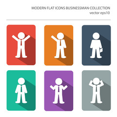 Modern flat icons vector collection with long shadow effect in s