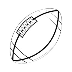 Illustration: Coloring Book Series: Sport Ball: Rugby Ball. Football. Soft thin line. Print it and bring it to Life with Color! Fantastic Outline / Sketch / Line Art Design.