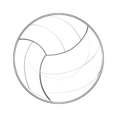Illustration: Coloring Book Series: Sport Ball: Volleyball. Soft thin line. Print it and bring it to Life with Color! Fantastic Outline / Sketch / Line Art Design.