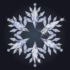 Diamond winter snowflake, vector illustration