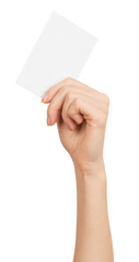 Womans hand with vertical small blank card