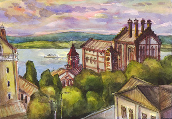 City view of the river. Watercolor painting