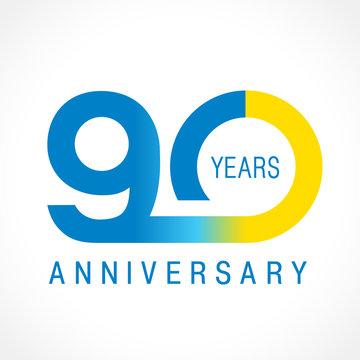 90 anniversary classic logo. The plain ordinary logotype of 90th birthday.