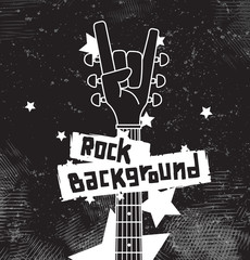 Vector rock background black. Rock background with an abstract image of the guitar fretboard in the form human hand on a black spotted background with white stars. The text is written in the curves.