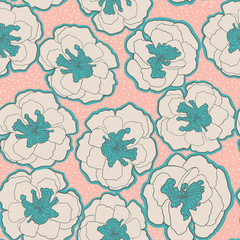 Colorful seamless pattern with blossom flowers.