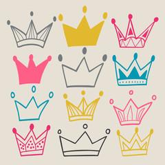 Set of cute cartoon crowns.