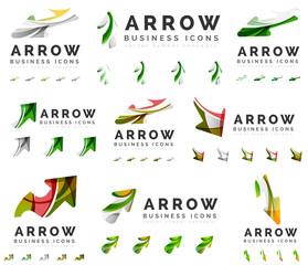 Set of company logotype branding designs, arrow direction