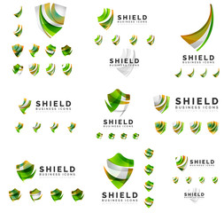 Set of company logotype branding designs, shield protection