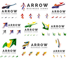 Set of company logotype branding designs, arrow direction