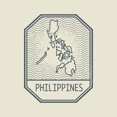 Stamp with the name and map of Philippines