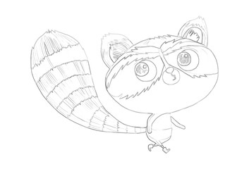 Illustration: Coloring Book Series: Raccoon. Soft thin line. Print it and bring it to Life with Color! Fantastic Outline / Sketch / Line Art Design.
