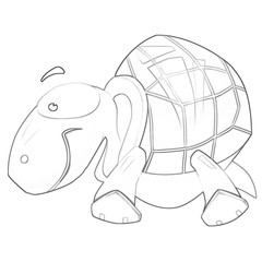 Illustration: Coloring Book Series: Tortoise. Soft thin line. Print it and bring it to Life with Color! Fantastic Outline / Sketch / Line Art Design.