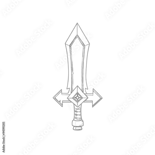 Illustration Coloring Book Series Sword Soft thin line Print