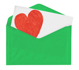 Love note in green envelope
