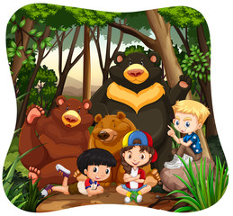 Children and grizzly bears in the jungle