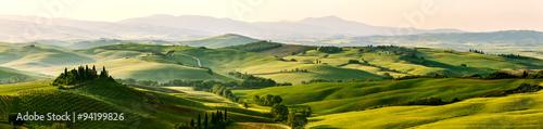 Wall mural Beautiful and miraculous colors of green spring panorama landsca